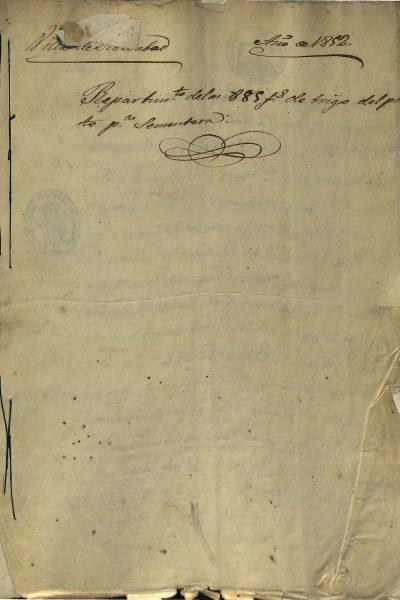 Repartimiento Grano y Capital, Pósito 1852